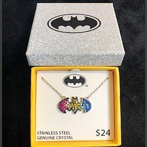 Rainbow sparkle Batman Necklace